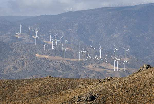 The Los Angeles Department of Water and Power Pine Tree wind farm as viewed from a nearby ridge in Jawbone Canyon near bird-watching haven Butterbredt Springs.