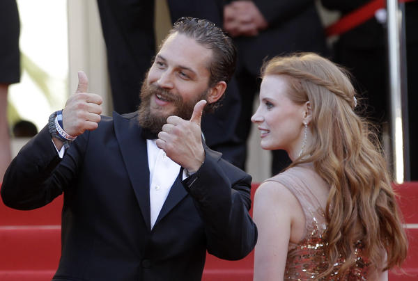 "Actors Tom Hardy, Jason Clarke (center) and Jessica Chastain at the ""Lawless"" premiere in Cannes."