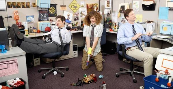 "Adam Devine, Blake Anderson and Anders Holm in ""Workaholics."""