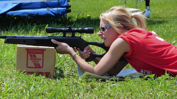 Hannah Middleton, 21, of Rockton, was an ace shot with every gun she tried, including this air rifle. Middleton was participating in the Women in the Outdoors program at the Torstenson Youth Conservation Education Center near Pecatonica.
