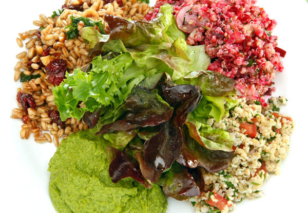 Tender Greens' happy vegan salad is actually a combo plate of salads. Recipe