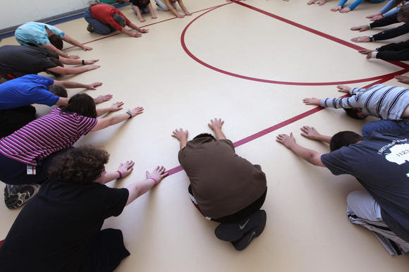 Group exercise with adolescents, children and parents