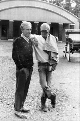 """Paul Newman puts an arm on A.E. Hotchner's shoulder as they walked through """"The Hole in the Wall Camp"""" in Ashford on June 9, 1988. Newman st"""