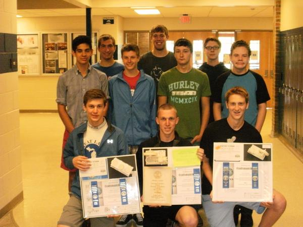 Petoskey High School students bringing home awards in the engineering/CAD categories of the MITES state competition at Saginaw Valley State University include (back row, from left) Andrew Schaub, Zach Lewis, Tanner Davis; (middle row) Griffin Christensen, Brian Gammon, Tyler Crouch, Zach Johnson; (front row) Daniel Eberhart, Brandon Mueller, Tyler Budreau.