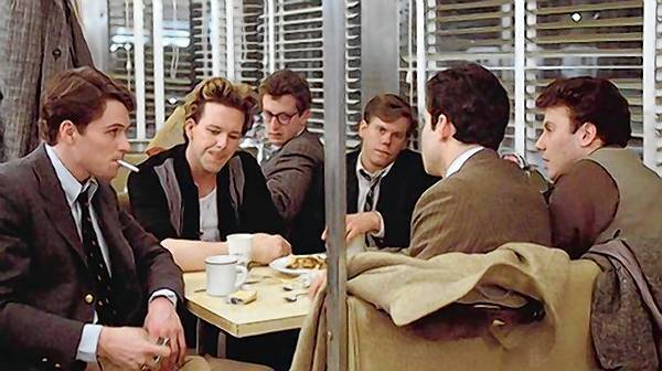 "Tim Daly, Mickey Rourke, Daniel Stern, Kevin Bacon, Paul Riser, far right, and Steve Guttenberg (back to camera) in ""Diner."""