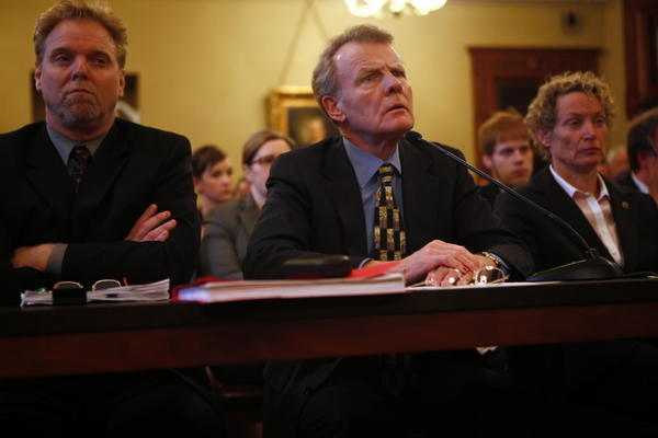 House Speaker Michael Madigan, center, along with his Research and Appropriations Director John Lowder, left, and State Rep. Elaine Nekritz, D-Northbrook, right, presents a state pension reform plan to the House Personnel & Pensions Committee.