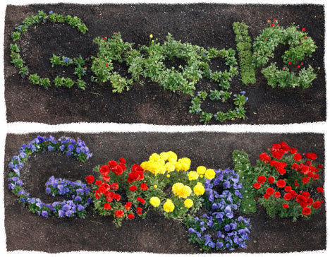 Google doodlers marked Earth Day with a time-lapse view of a garden project that staffers worked on.