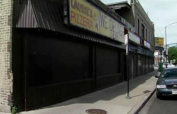 The pizzeria where 13-year-old Ivan Alanis was shot to death early Tuesday. WGN-TV