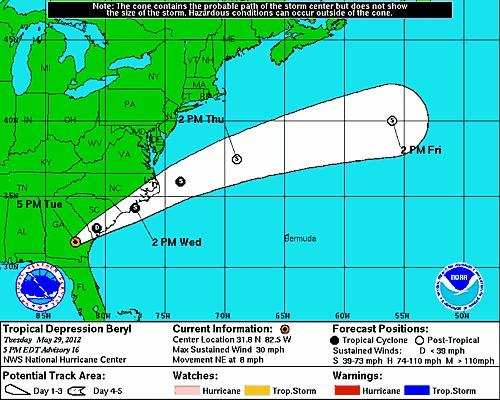 Tropical Depression Beryl is forecast to restrengthen into a tropical storm and then dissipate at sea.