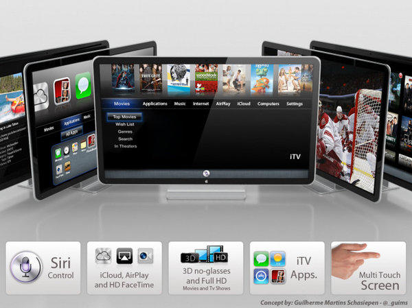 An artist's mock-up of a prospective Apple iTV television set.
