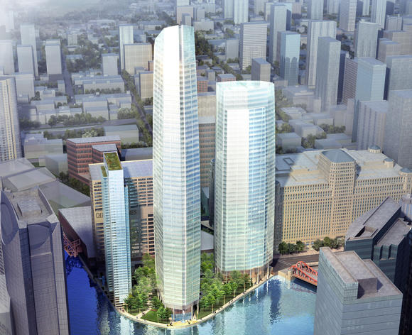 Rendering of proposed towers at Wolf Point, 350 N. Orleans St.