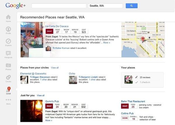A screenshot of Google+ Local