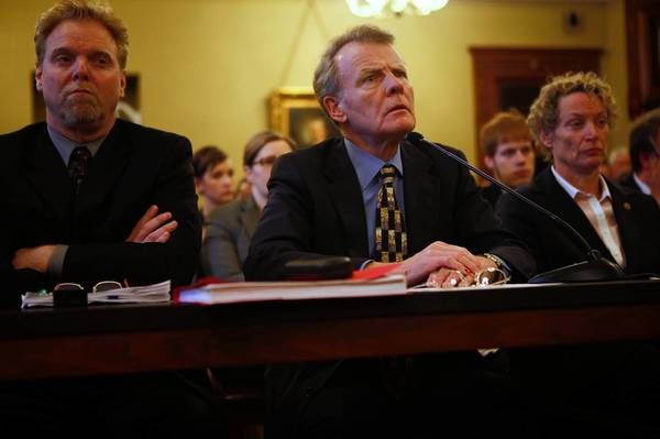 Illinois House Speaker Michael Madigan, center, shown with John Lowder, his research and appropriations director, and state Rep. Elaine Nekritz, D-Northbrook, presents his pension plan this week to a House panel.