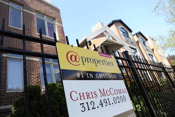 Average home prices in the Chicago area in March dropped to their lowest levels since April 2000 and have fallen 39 percent since peaking in September 2006.