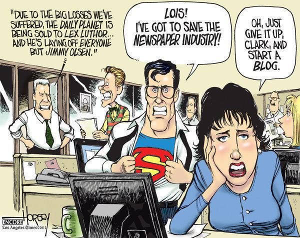 In this 2009 cartoon, David Horsey calls on the world's most famous newsman, Clark Kent, to rescue newspapers.