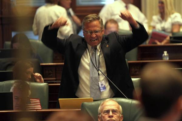 Rep. Mike Bost, R-Murphysboro, rails against House Speaker Michael Madigan on Tuesday as Republicans try unsuccessfully to amend Madigan's pension bill at the Illinois State Capitol in Springfield.