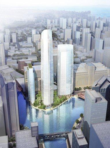An artist's rendering of what the three-tower development, to be built downtown at Wolf Point on the Chicago River, would look like.