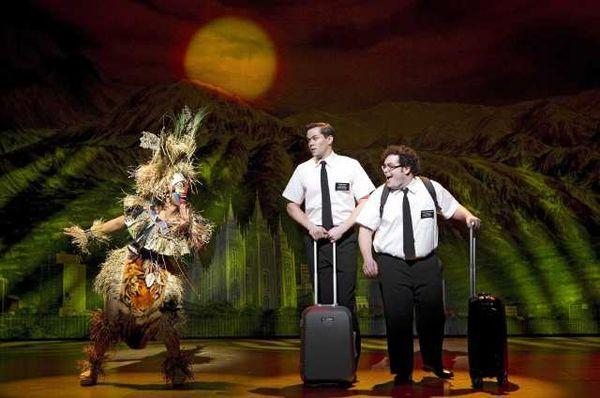 "A scene from the Broadway production of ""The Book of Mormon."""