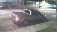 The alleged vandal's truck is caught on tape.