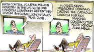 Dana Summers Cartoon: National Topics: Birth control, contraception, Catholic Church