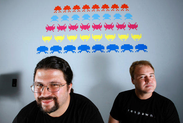 Jason West and Vincent Zampella at their new game development studio, Respawn.