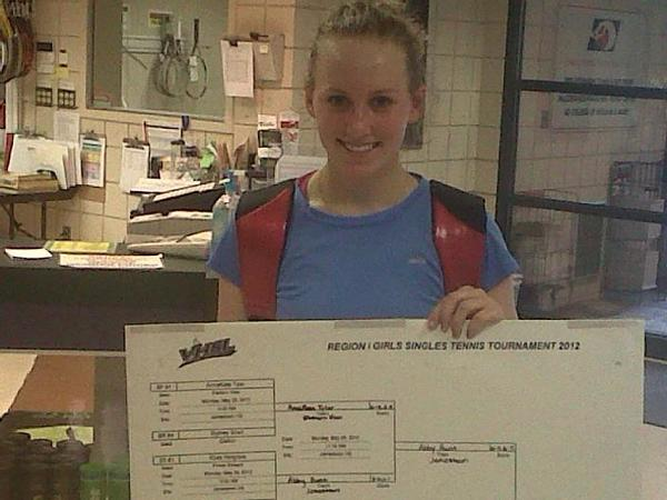 York High sophomore Wiktoria Plawska repeated as the Region I singles champion, beating Jamestown's Abby Hunt 6-0, 6-1 on May 30, 2012, at McCormack-Nagelsen Tennis Center in Williamsburg.