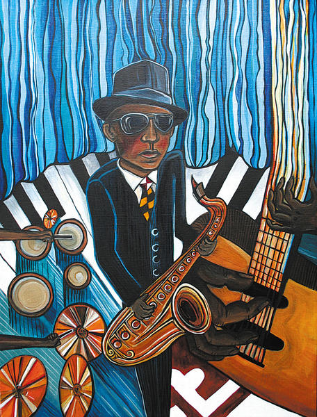 Bluesman on Stage, top, by Frederick, Md.-based artist Kate Fortin, was selected as the artwork for this years Western Maryland Blues Fest.