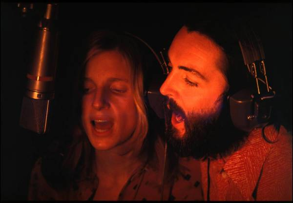 Paul and Linda McCartney recording in 1970.