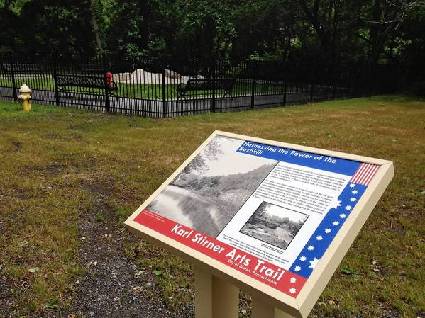 This sign along the Karl Stirner Arts Trail in Easton explains the industrial significance of the Bushkill Creek. The sign is one of 202 the city commissioned for the trail to highlight significant events in the city's history.