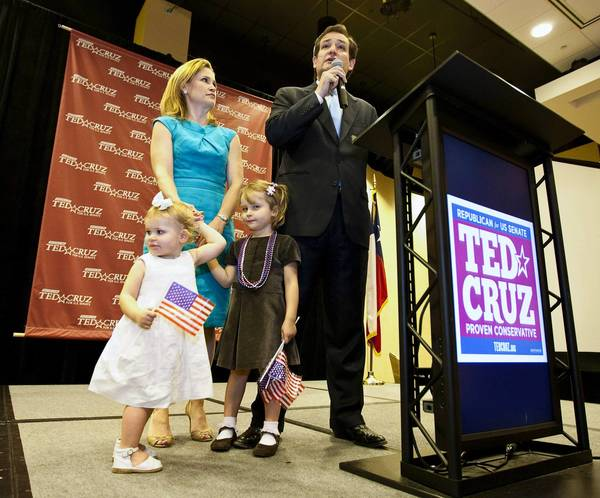 Tea party favorite Ted Cruz, shown Tuesday with wife Heidi and daughters Catherine and Caroline, forced Texas Lt. Gov. David Dewhurst into a runoff election for the Republican Party's U.S. Senate nomination.