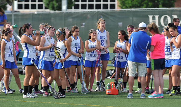Nazareth during halftime against Harriton during a PIAA 1st round girls lacrosse game at Emmaus High School on Wednesday