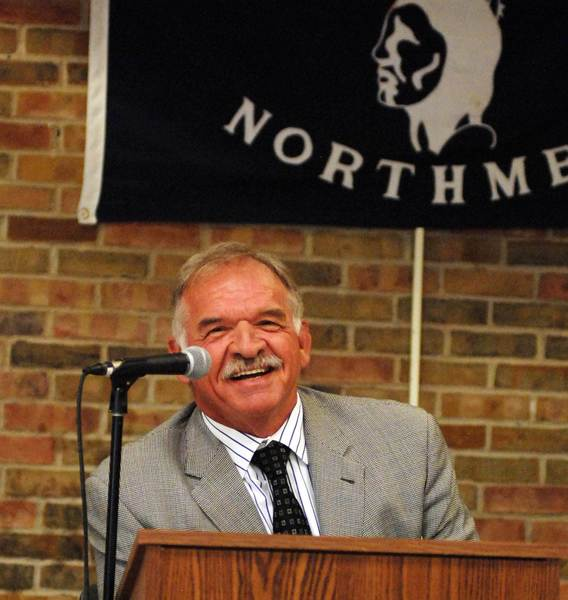 Pro Football Hall of Famer Dan Dierdorf addresses the crowd Wednesday at the 67th Annual Petoskey High School Varsity Awards Banquet.