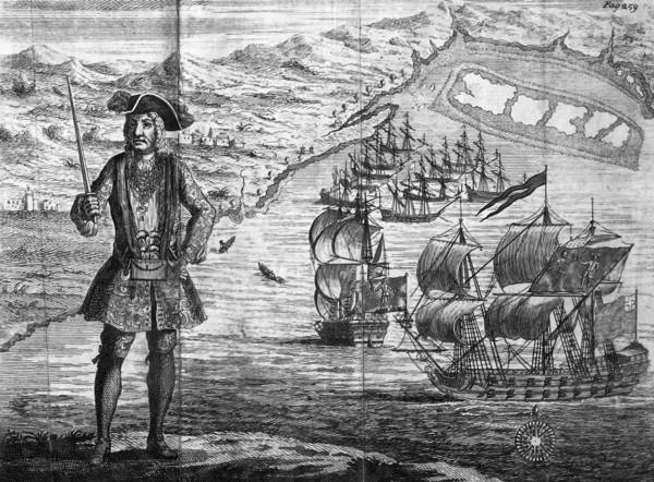 "Legendary pirate Bartholomew ""Black Bart"" Roberts is depicted in this engraving from Capt. Charles Johnson's 1724 ""General History of the Robberies and Murders of the most notorious Pyrates."""
