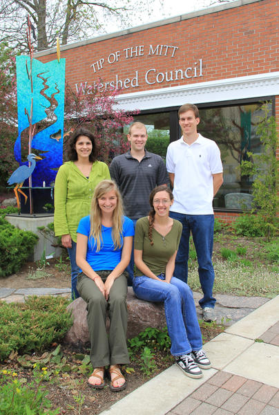 Five new interns who recently joined the Tip of the Mitt Watershed Council for a summer of hands-on learning include (clockwise, from top left) Natasha Belisle, Frank Quinn, Ben Allushuski, Mady Collins and Julia Kelpach.