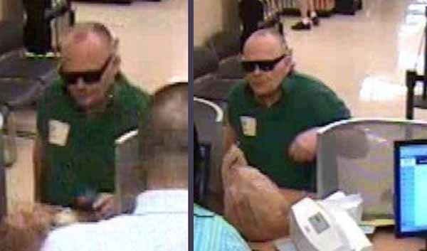Surveillance photos of a man robbing a TCF Bank on Sunday. Jerry Campbell, 64, of Chicago, admitted the photos are of him, and has been charged in the robbery, according to the FBI.