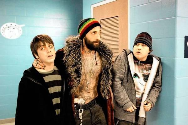 "Matt Bush, left, Adrien Brody and Sean Marquette star in ""High School."""