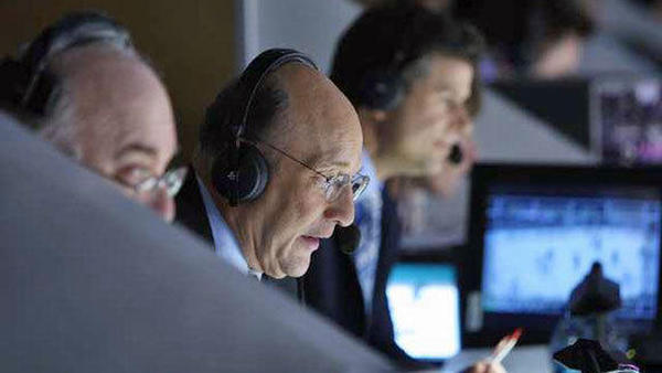 Bob Miller, center, is the legendary voice of the Los Angeles Kings.