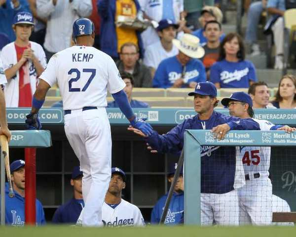 Matt Kemp is back on the disabled list because of a strained hamstring.