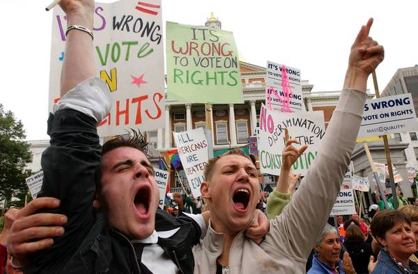 Advocates of gay rights demonstrate in Boston in 2007. A Boston-based federal appeals court has struck down a key provision of the federal Defense of Marriage Act, saying the government cannot deny federal benefits to same-sex couples legally married in their home states.