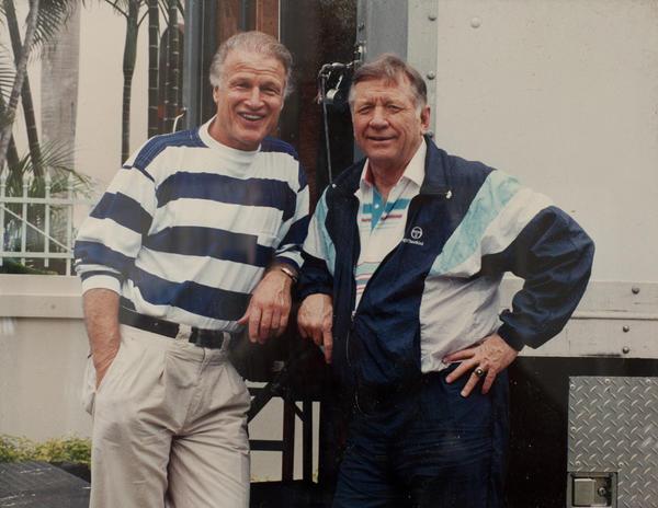 Beloved coach, athlete, actor William Wohrman (left) with Mickey Mantle.
