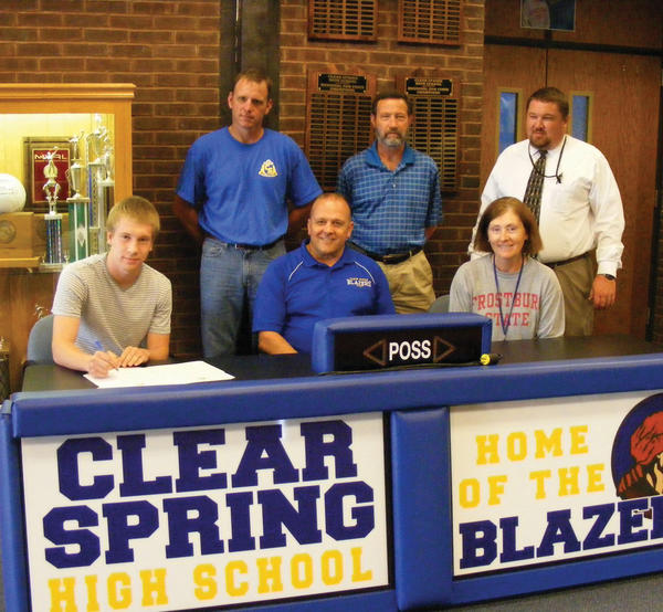 Clear Spring senior striker Ralph Weaver signed a letter of intent to play soccer at Shepherd University, an NCAA Division II school in the West Virginia Conference. Weaver capped his four-year varsity career by scoring 14 goals and adding 10 assists for the Blazers last fall, earning Herald-Mail All-County First Team honors. From left to right: Seated -- Ralph Weaver III, Clear Spring boys soccer coach Mark Myers and athletic director Lisa Shives; Standing -- Clear Spring assistant coach Eric Knode, club coach Rick Aleshire and Clear Spring principal James Aleshire.