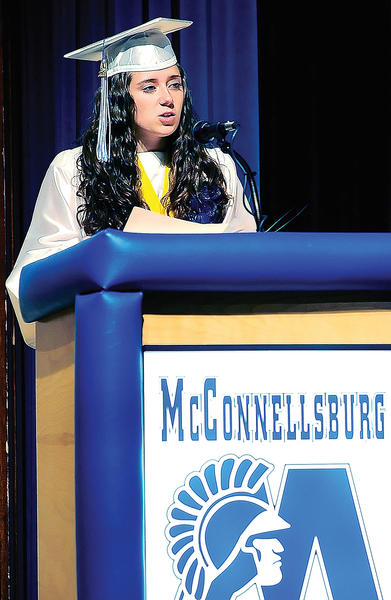 McConnellsburg (Pa.) High School Class of 2012 Salutatorian Dakota Deneen gives her graduation speech Thursday night at the high school.
