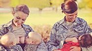 SAN DIEGO - The pictures drawing the ire, applause, and comments of hundreds of thousands of people Thursday were of two military women breastfeeding their children while in uniform.