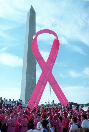 Participants in the Race for the Cure gather at the Washington Monument and next to a giant pink ribbon ahead of the race in Washington, DC. The race raises money for breast cancer research and the pink ribbon is a symbol of support for that research.