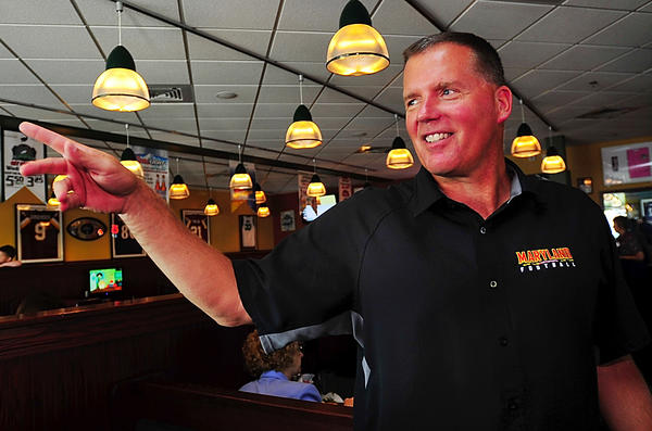 University of Maryland head football coach Randy Edsall, along with and other coaches and players from U-Md., visited The Greene Turtle in Hagerstown on Thursday as part of Terps on Tour.