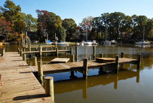 The pier at Burley Creek, out back of the house on Hidden Point Road in Annapolis.