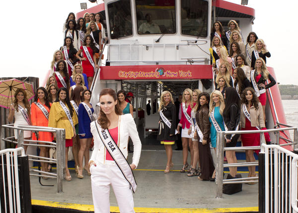 "Miss USA 2011 Alyssa Campanella, pose with the 2012 Miss USA contestants. Pictured are Miss Alabama USA 2012, Katherine Webb; Miss Alaska USA 2012, Jessica Kazmierczak; Miss Arizona USA 2012, Erika Lane Frantzve; Miss Arkansas USA 2012, Kelsey Dow; Miss California USA 2012, Natalie Pack; Miss Colorado USA 2012, Marybel Gonzalez; Miss Connecticut USA 2012, Marie-Lynn Piscitelli; Miss Delaware USA 2012, Krista Clausen; Miss District Of Columbia USA 2012, Monique LaShone Thompkins; Miss Florida USA 2012, Karina Brez; Miss Georgia USA 2012, Jasmyn ""Jazz"" Alexandria Wilkins; Miss Hawaii USA 2012, Brandie Kapuaalohaakaua Cazimero; Miss Idaho USA 2012, Erna Palic; Miss Illinois USA 2012, Ashley Hooks; Miss Indiana USA 2012, Megan Myrehn; Miss Iowa USA 2012, Rebecca Hodge; Miss Kansas USA 2012, Gentry Linn Miller; Miss Kentucky USA 2012, Amanda Ashlee Mertz; Miss Louisiana USA 2012, Erin Edmiston; Miss Maine USA 2012, Rani Williamson; Miss Maryland USA 2012, Nana Meriwether; Miss Massachusetts USA 2012, Natalie Victoria Pietrzak; Miss Michigan USA 2012, Kristen Samantha Danyal; Miss Minnesota USA 2012, Nitaya Panemalaythong; Miss Mississippi USA 2012, Myverick Rashea Garcia; Miss Missouri USA 2012, Katie Kearney; Miss Montana USA 2012, Autumn Marie Muller; Miss Nebraska USA 2012, Amy Spilker; Miss Nevada USA 2012, Jade Ashley Kelsall; Miss New Hampshire USA 2012, Ryanne Harms; Miss New Jersey USA 2012, Michelle Leonardo; Miss New Mexico USA 2012, Jessica Renee Martin; Miss New York USA 2012, Johanna Sambucini; Miss North Carolina USA 2012, Sydney Marie Perry; Miss North Dakota USA 2012, Jaci Stofferahn; Miss Ohio USA 2012, Audrey Bolte; Miss Oklahomamiss use 2012 USA 2012, Lauren Taylor Lundeen; Miss Oregon USA 2012, Alaina Bergsma; Miss Pennsylvania USA 2012, Sheena Monnin; Miss Rhode Island USA 2012, Olivia Culpo; Miss South Carolina USA 2012, Erika Powell; Miss South Dakota USA 2012, Taylor Neisen; Miss Tennessee USA 2012, Jessica Hibler; Miss Texas USA 2012, Brittany Lynn Booker; Miss Utah USA 2012, Kendyl Carol Bell; Miss Vermont USA 2012, Jamie Lynn Dragon; Miss Virginia USA 2012, Catherine Ashley Muldoon; Miss Washington USA 2012, Christina Clarke; Miss West Virginia USA 2012, Andrea Rogers; Miss Wisconsin USA 2012, Emily Guerin; and Miss Wyoming USA 2012, Holly Allen cruse on the Hudson River thanks to City Sight Seeing May 8, 2012."
