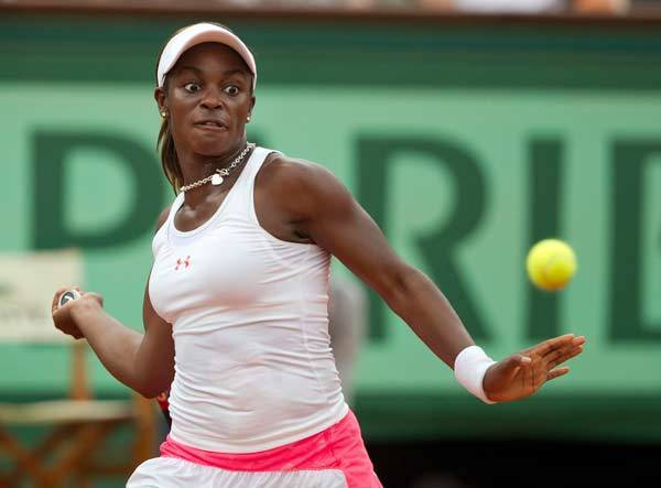 Sloane Stephens (USA) during her match against Mathilde Johansson (FRA) on day six of the 2012 French Open at Roland Garros.