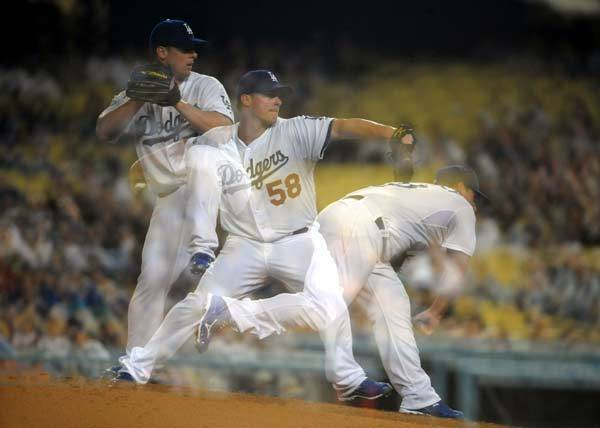 Los Angeles Dodgers pitcher Chad Billingsley (58) pitches during the game against the Milwaukee Brewers at Dodger Stadium. The Brewers defeated the Dodgers 6-2.