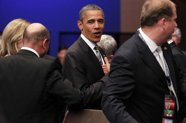 President Obama arrives for a meeting at the NATO 2012 Summit in Chicago on May 21, 2012.